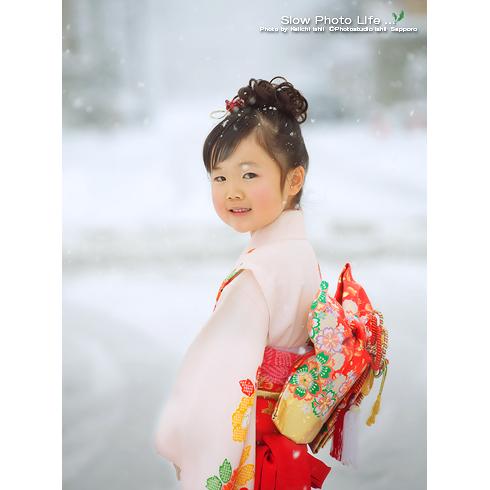 雪景色の七五三写真