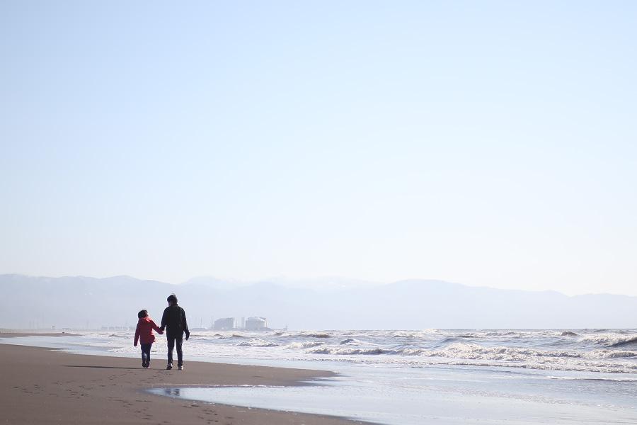 石狩の海・誕生日の記念写真
